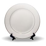 PixMaster / Talíř velký (plytký)_ bílý se zlatým_keramika_pr. 27cm včetně stojánku