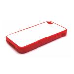 PixMaster / Kryt zadní (guma)_červený_iPhone 4, 4S včetně třpytivého plechu pro potisk